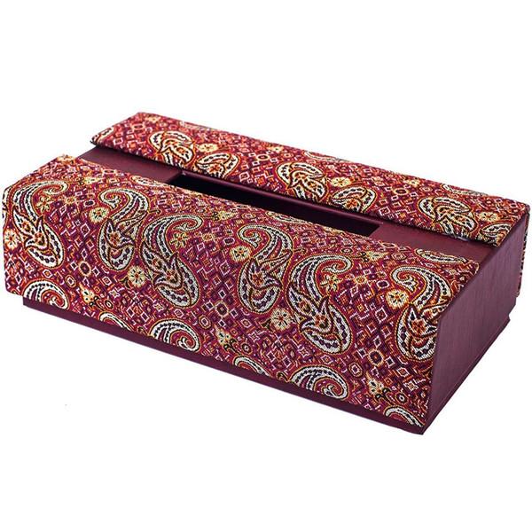 جعبه دستمال کاغذی ترمه سنا طرح تک گل قرمز