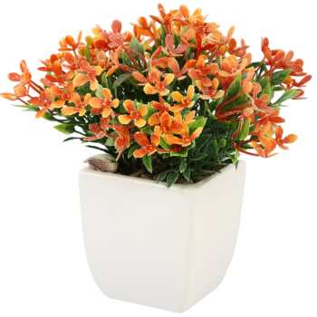 گلدان سرامیک به همراه گل مصنوعی هومز طرح مینا پودری مدل 31507