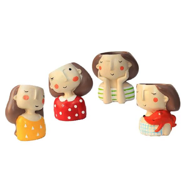 گلدان طرح دخترکان مدل DG022-25 مجموعه 4 عددی