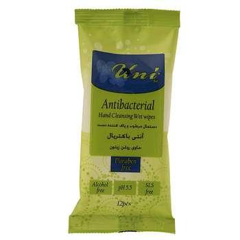 دستمال مرطوب دست یونی لد مدل Antibacterial بسته 12 عددی