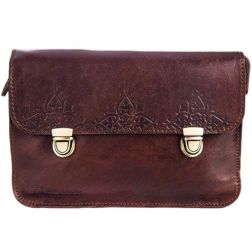 کیف دوشی چرم طبیعی گالری چیستا مدل دو قفل طرح اسلیمی