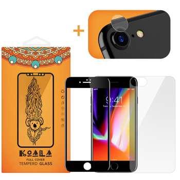 محافظ صفحه نمایش شیشه ای کوالا مدل Full Cover مناسب برای گوشی موبایل اپل آیفون 8 به همراه محافظ پشت Tempered و محافظ لنز دوربین