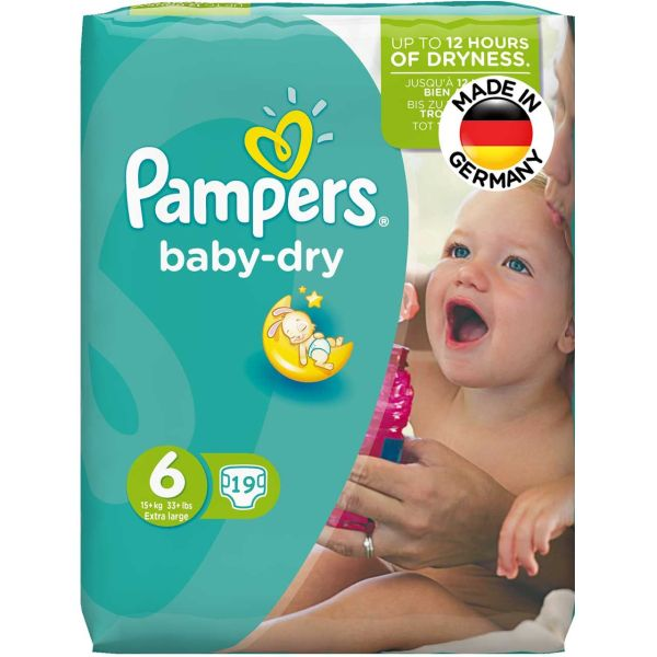 پوشک پمپرز مدل Baby Dry سایز 6 بسته 19 عددی