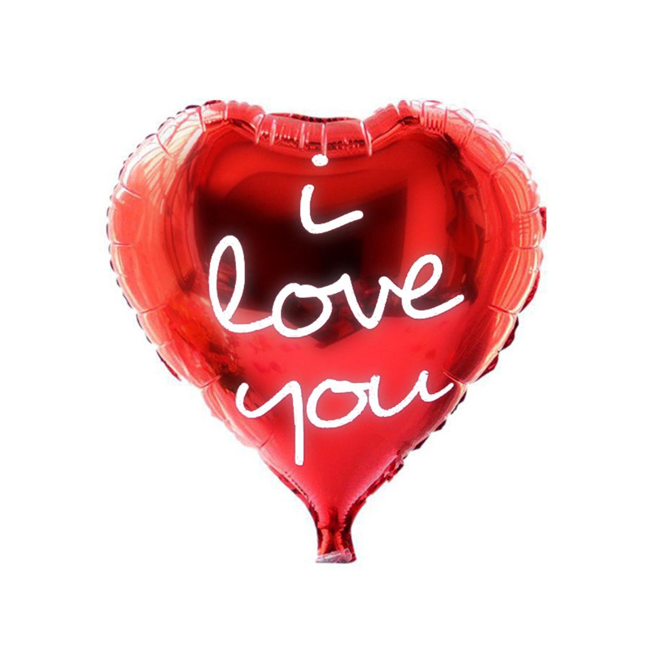 عکس بادکنک فویلی سورتک طرح قلب مدل I Love You