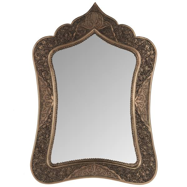 آینه قلمزنی زمینه برنج اثر خرم نژاد زمینه مس طرح مسجدی سایز 48 × 33 سانتی متر