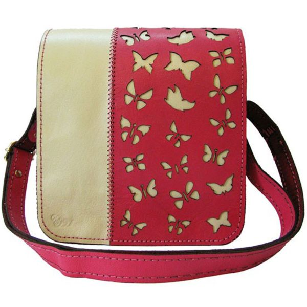 کیف دوشی چرم طبیعی گالری روژه طرح پروانه