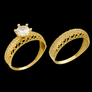 انگشتر طلا 18 عیار زنانه کد 6720 مجموعه 2 عددی