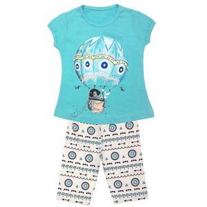 ست تی شرت و شلوارک دخترانه مدل بالون کد 3351 رنگ آبی