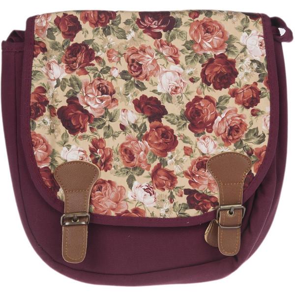 کیف دوشی پارچه ای گالری صنم طرح گل رز زمینه کرم