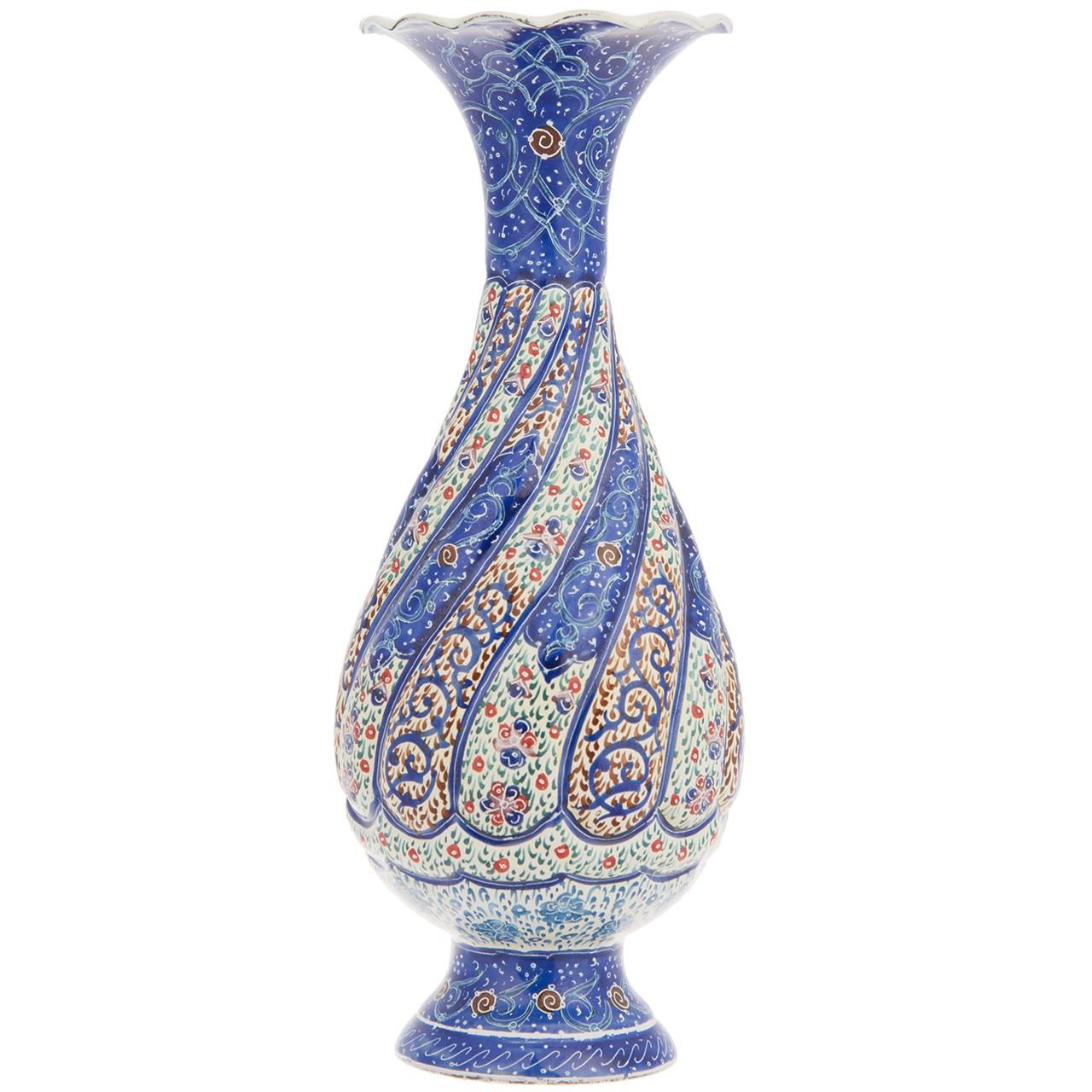 گلدان مسی میناکاری شده اثر شیرازی طرح 5 ارتفاع 16 سانتی متر
