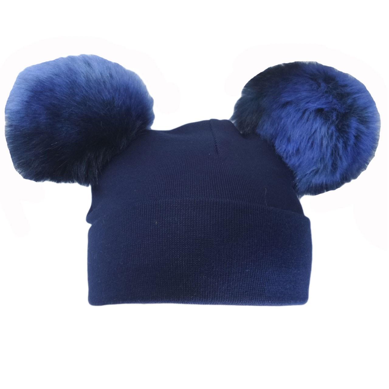 کلاه استرج کودک مدل پوم پوم دار سرمه ای