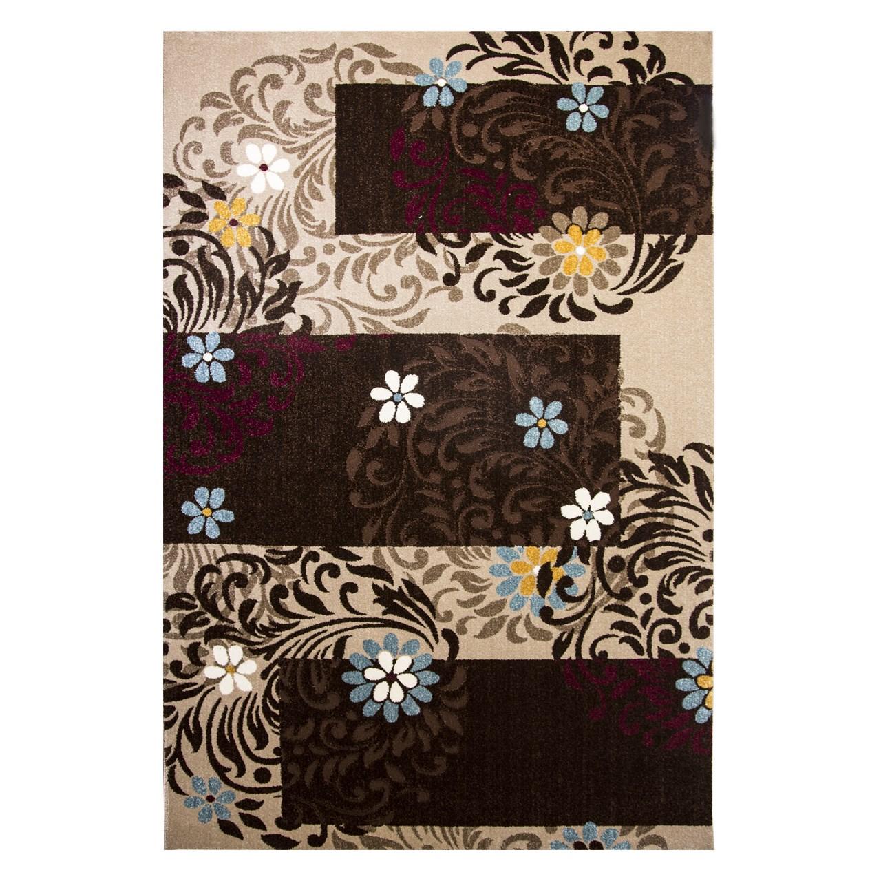 فرش ماشینی ساوین طرح آفاق زمینه شکلاتی
