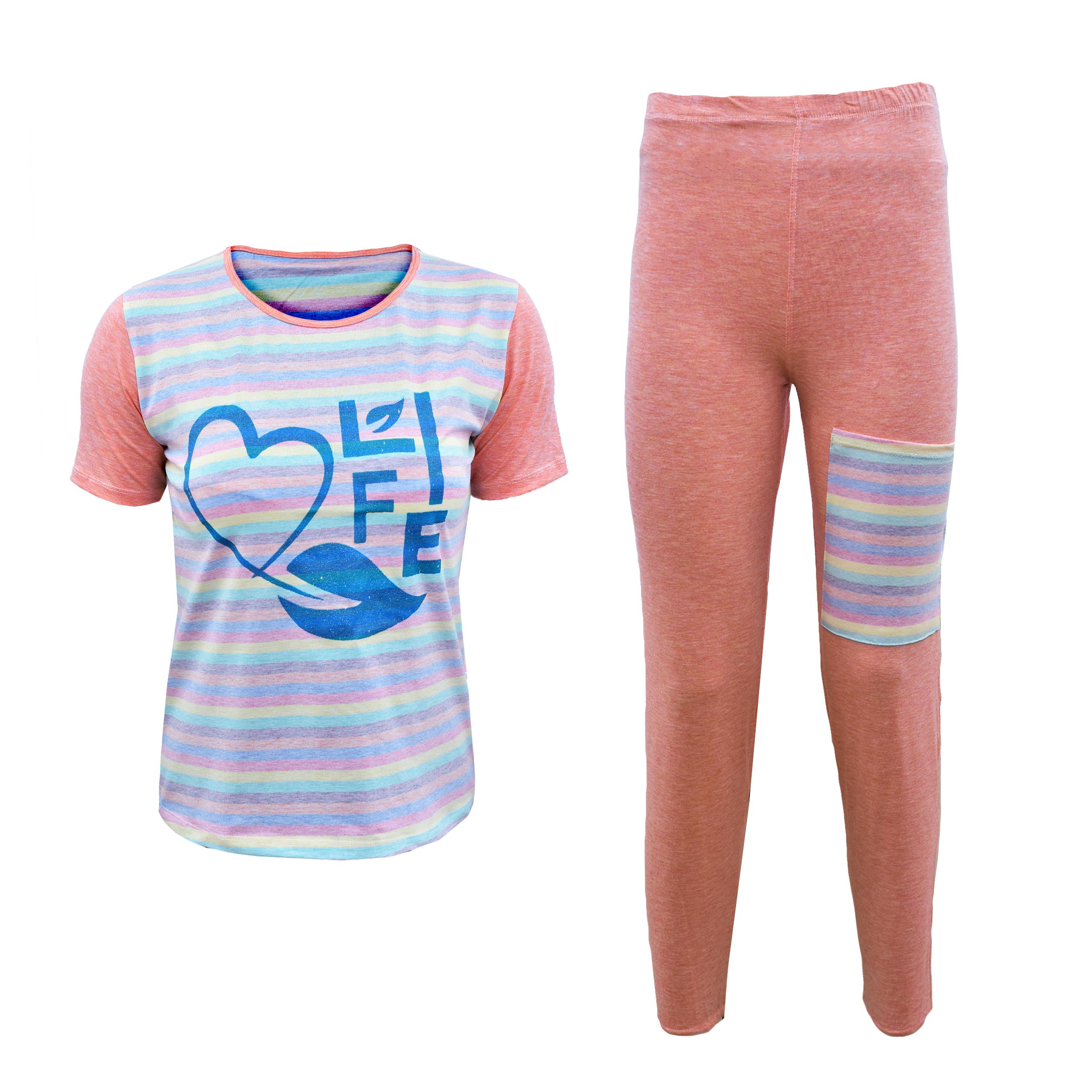 خرید                                      ست تی شرت آستین کوتاه و شلوار زنانه کد 3006GO