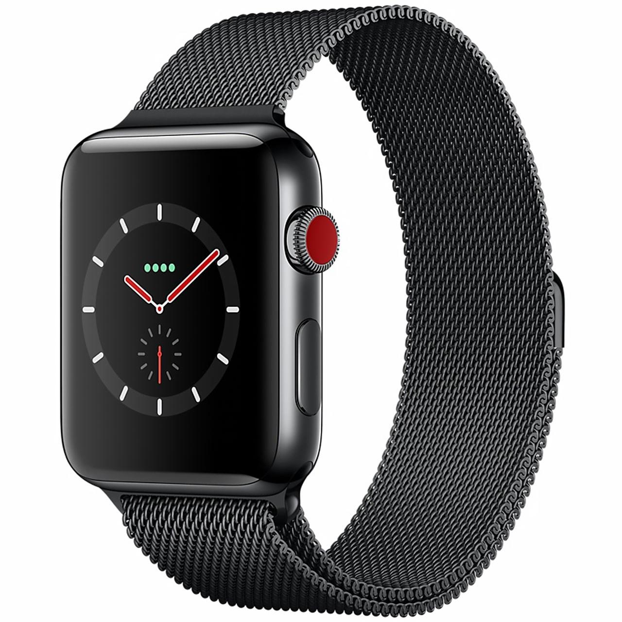 ساعت هوشمند اپل واچ سری ۳ سلولار مدل ۴۲mm Space Black Stainless Steel Case with Space Black Milanese Loop