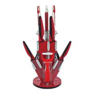 ست چاقو و کفگیر وملاقهی  پایه دار  10پارچه رویالتی لاین مدل KT10 RED