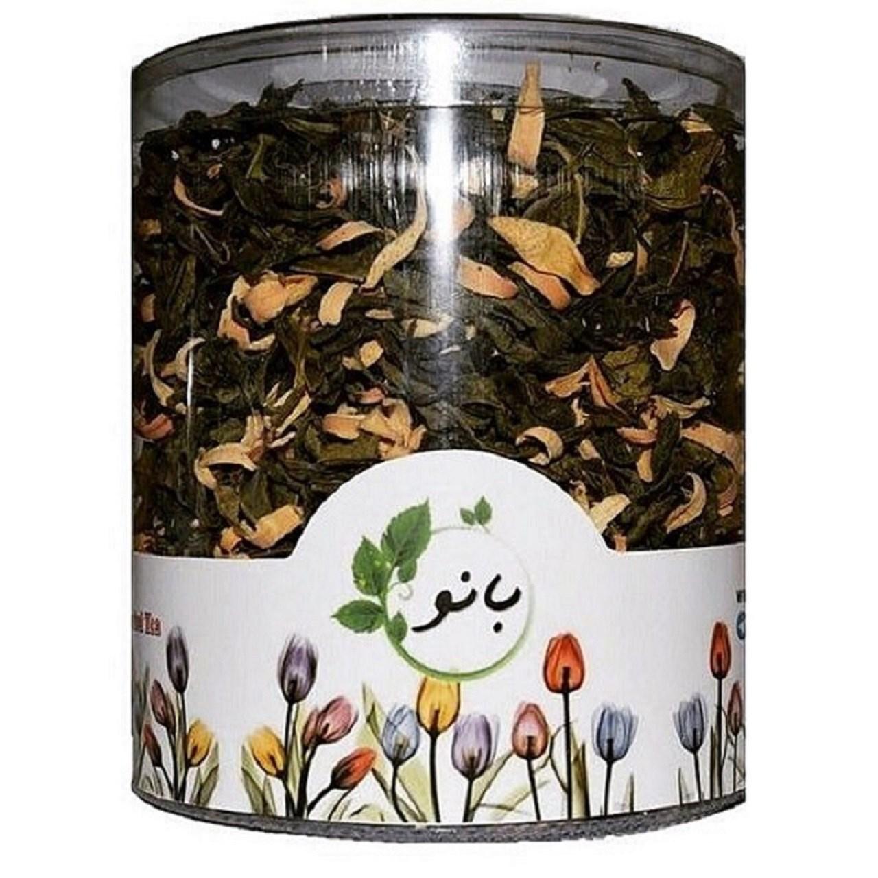 قوطی دمنوش ترکیبی بانو مدل چای سبز و بهارنارنج