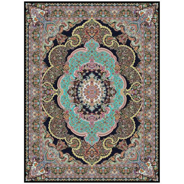 فرش ماشینی ماندگار پارس طرح شاندیز زمینه سورمه ای