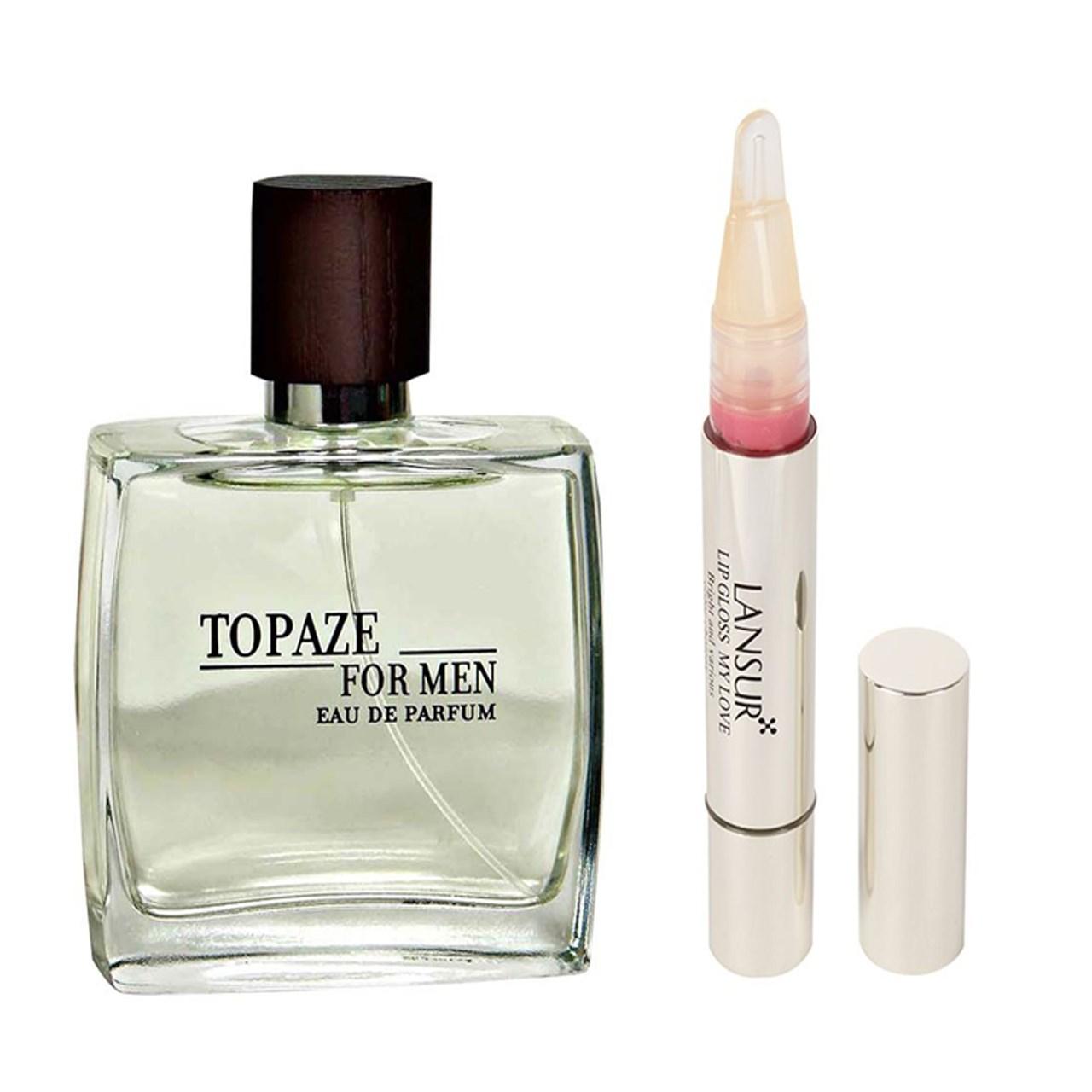 ادو پرفیوم مردانه استاویتا مدل Topaze حجم 100 میلی لیتر به همراه  لاک لب لنسور سری My Love شماره 04