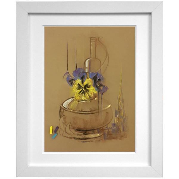 تابلو نقاشی اثر استاد خانم پناه مدل F03 طرح ظرف گل های بنفشه