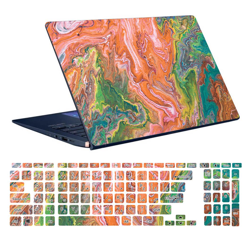 استیکر لپ تاپ توییجین و موییجین طرح Colorful کد 57 مناسب برای لپ تاپ 15.6 اینچ به همراه برچسب حروف فارسی کیبورد