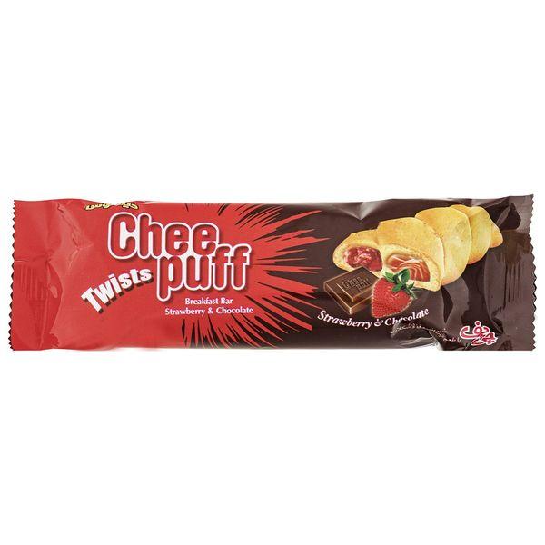 شیرینی مغزدار توت فرنگی و شکلاتی چی پف مقدار 45 گرم