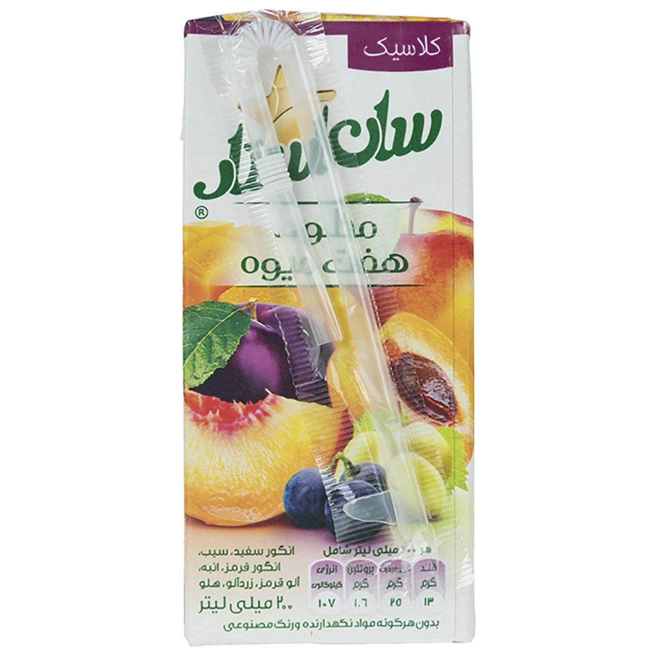 نکتار مخلوط هفت میوه سان استار حجم 0.2 لیتر