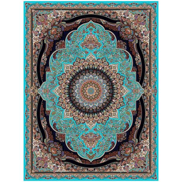 فرش ماشینی ماندگار پارس طرح پرهام زمینه آبی