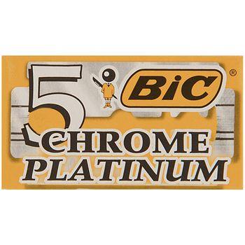 تیغ یدک سنتی بیک مدل Platinum Chromium Double Edge بسته 5 عددی