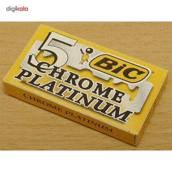 تیغ یدک سنتی بیک مدل Platinum Chromium Double Edge بسته 5 عددی main 1 4