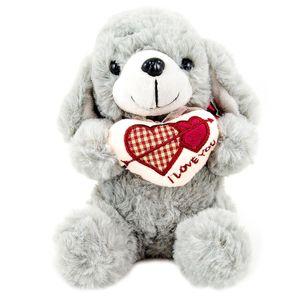 عروسک سگ قلب به دست مدل Gray Love Dog