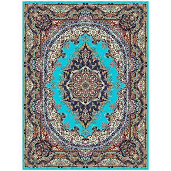 فرش ماشینی ماندگار پارس طرح الهام زمینه آبی