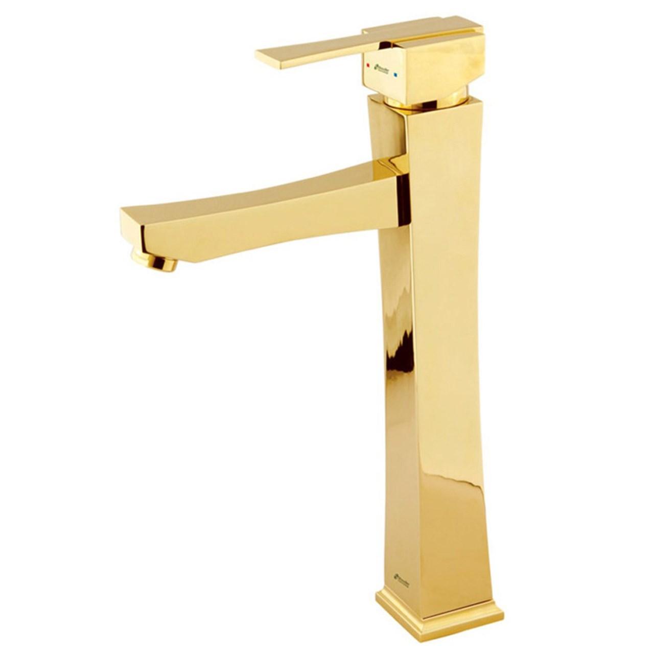 شیر روشویی پایه بلند شودر مدل ایمپرو رنگ طلایی براق