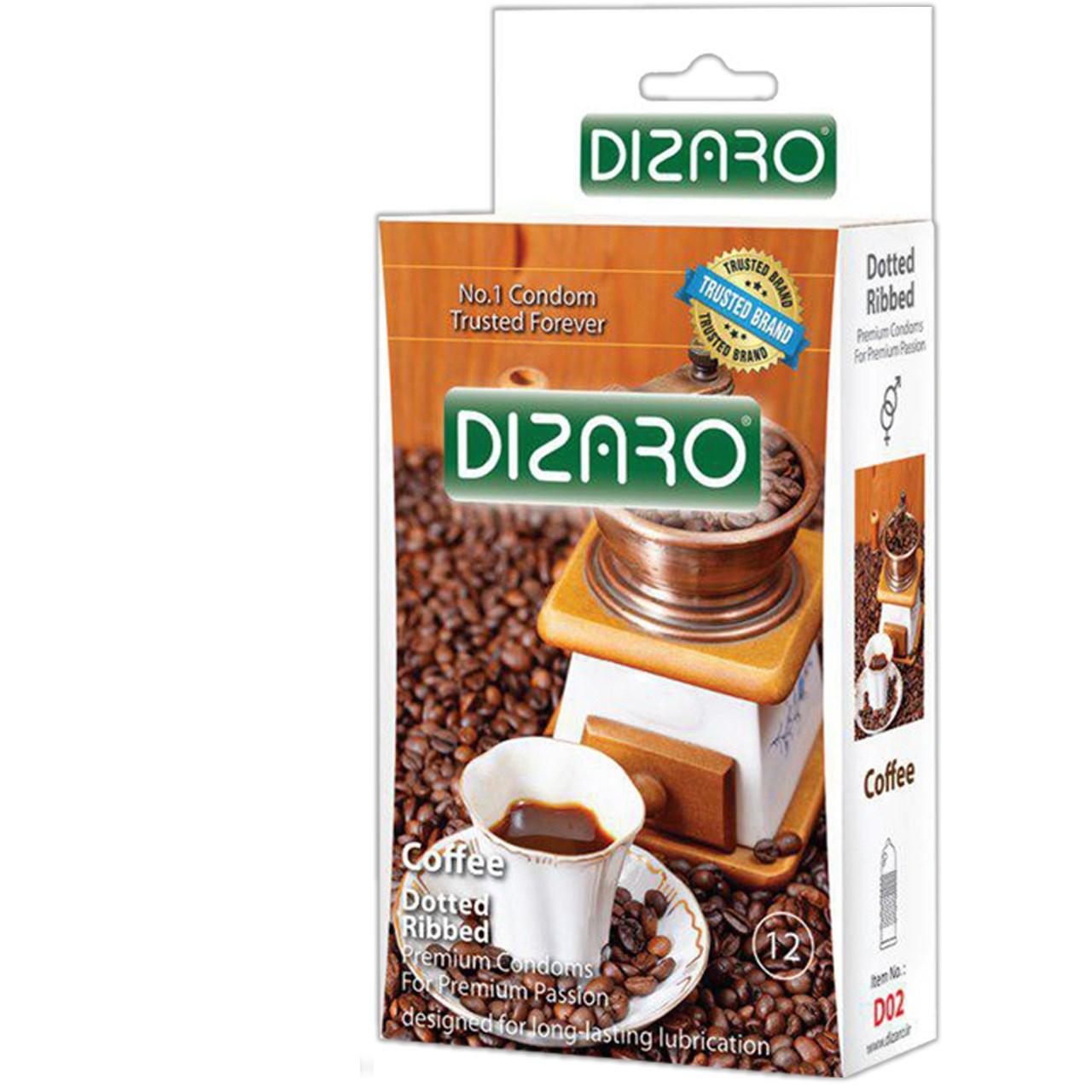 کاندوم دیزارو مدل DOTTED RIBBED COFFEE کد D02 بسته 12 عددی