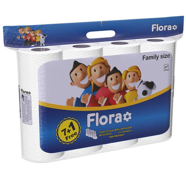 دستمال توالت فلورا مدل Family Size بسته 8 عددی