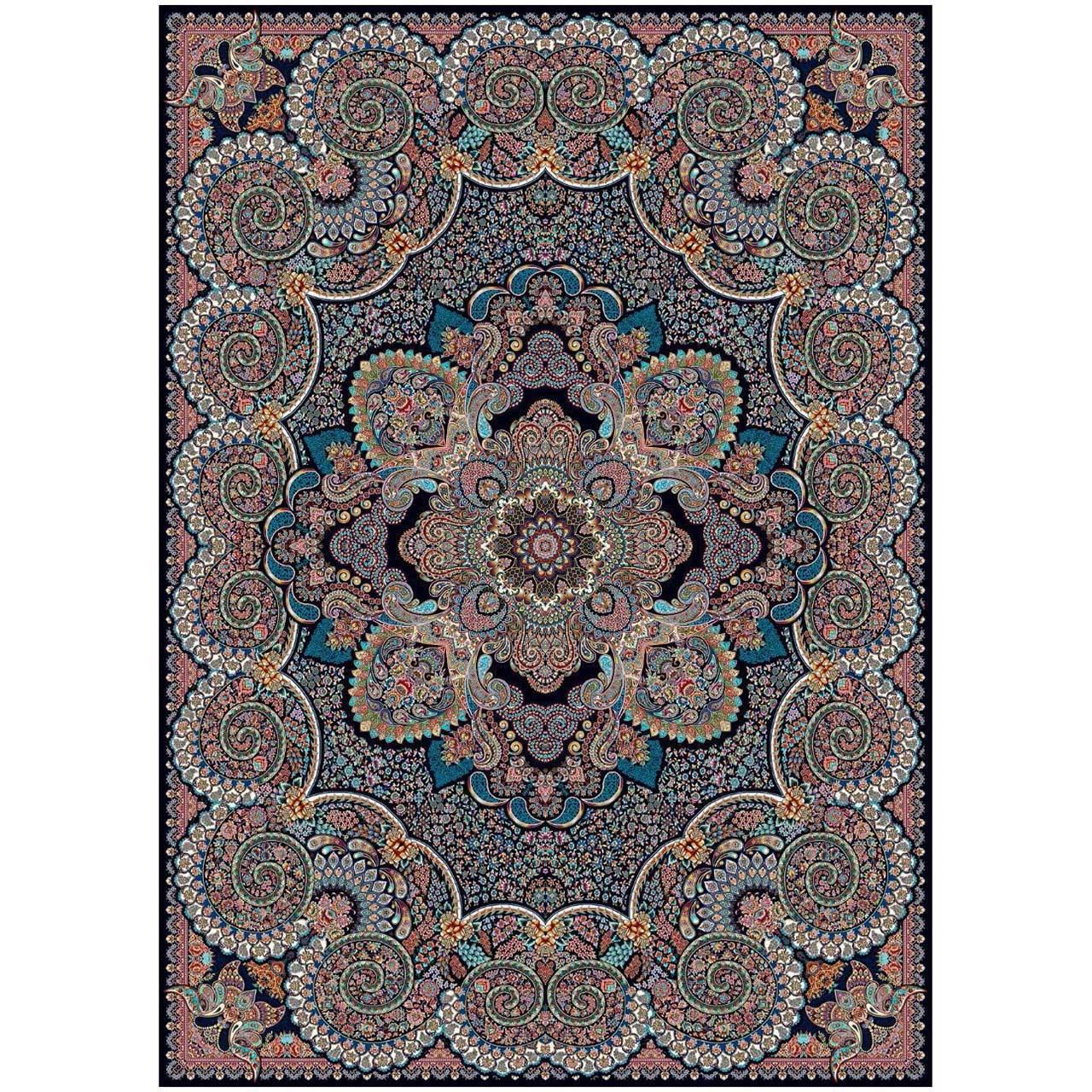فرش ماشینی ماندگار پارس طرح دنیز زمینه سورمه ای