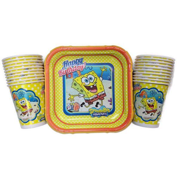 پیش دستی و لیوان یکبار مصرف مدل bob sponge مجموعه 40 عددی