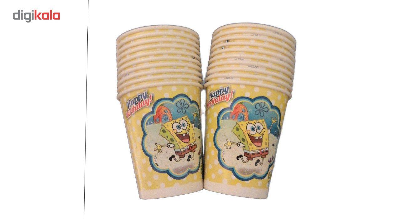 پیش دستی و لیوان یکبار مصرف مدل bob sponge مجموعه 40 عددی main 1 2