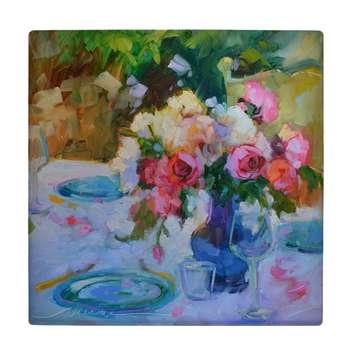 کاشی کارنیلا طرح نقاشی گل و گلدان شیشه ای مدل لوحی کد WKB763