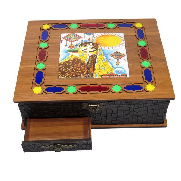 جعبه پذیرایی چایی کیسه ای و دمنوش لوکس باکس مدل خاتون کد LB16