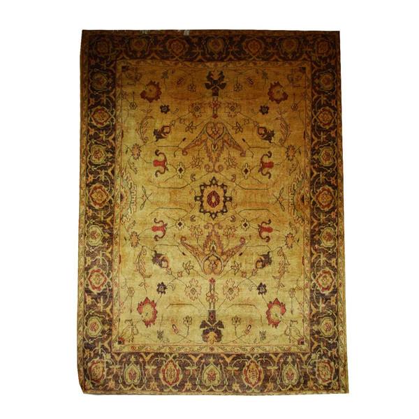 فرش ابریشمی کرامتیان طرح سلطانی کد 5946 زمینه عسلی تیره