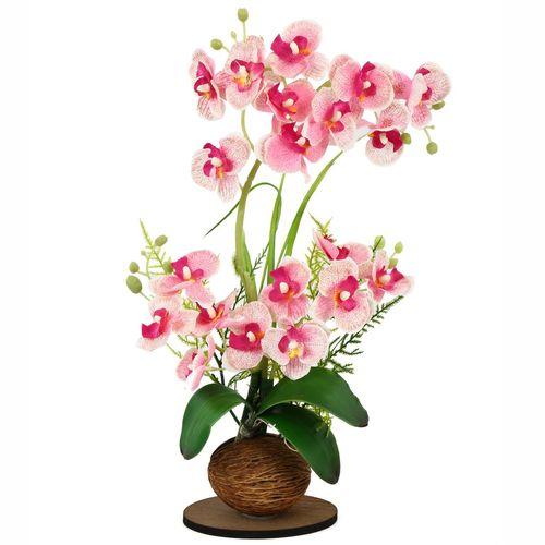 گلدان به همراه گل مصنوعی هومز طرح ارکیده مدل 31647