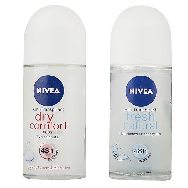 پک رول ضد تعریق زنانه نیوآ مدل Dry Comfort و Fresh Natural حجم 50 میلی لیتر-بسته 2 عددی