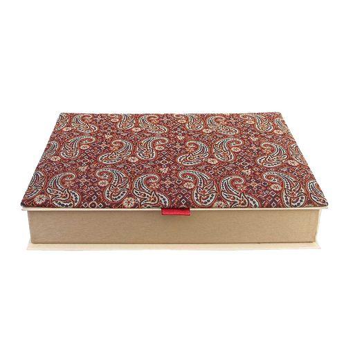 جعبه ترمه سنا کد 115025 طرح جفت گل عنابی