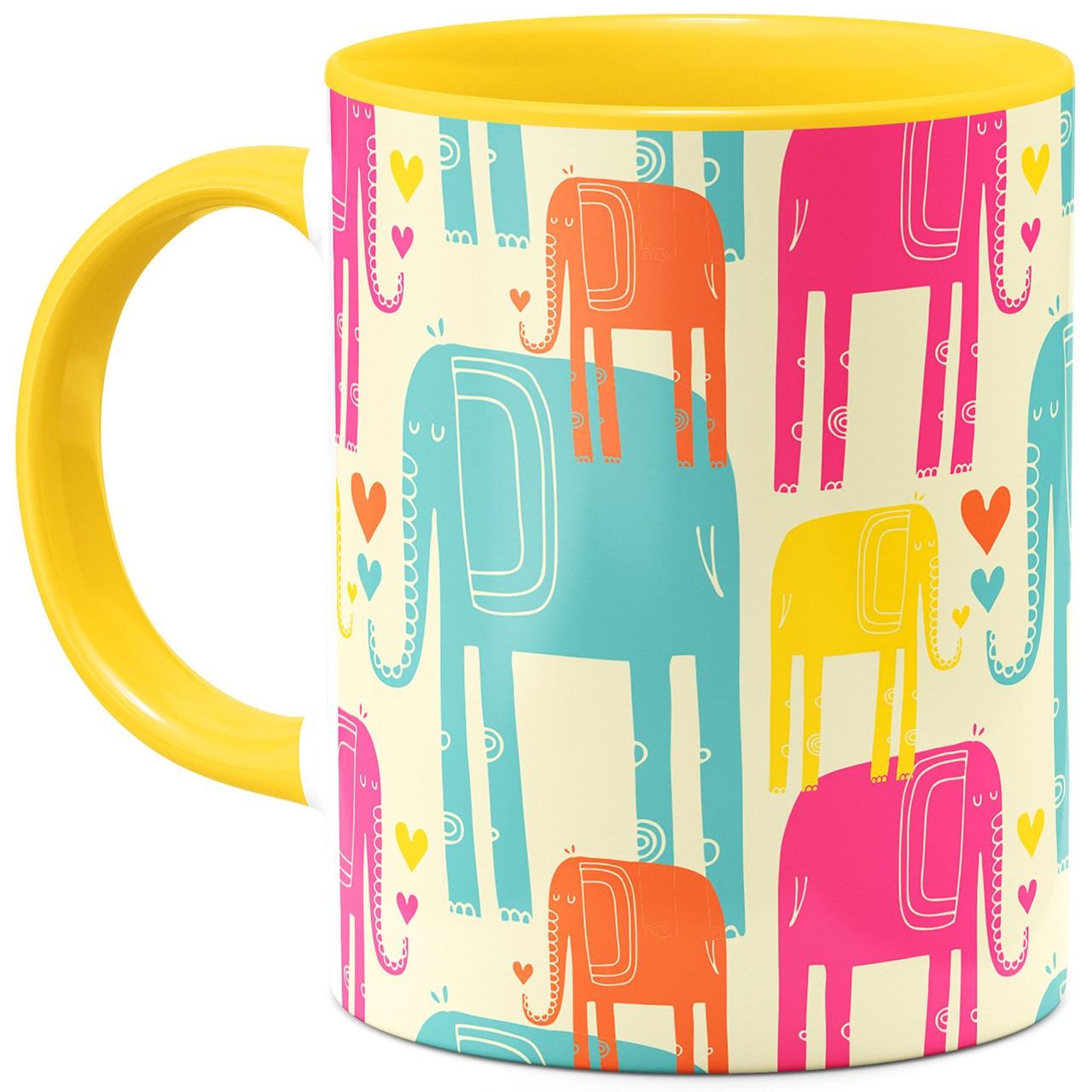 ماگ هیدورا طرح فیل های رنگی
