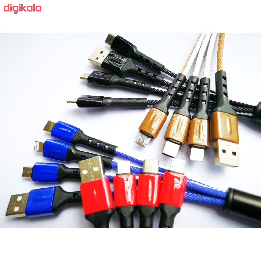 کابل تبدیل USB به microUSB / USB-C / لایتنینگ مدل JKX37 طول 0.15 متر main 1 1