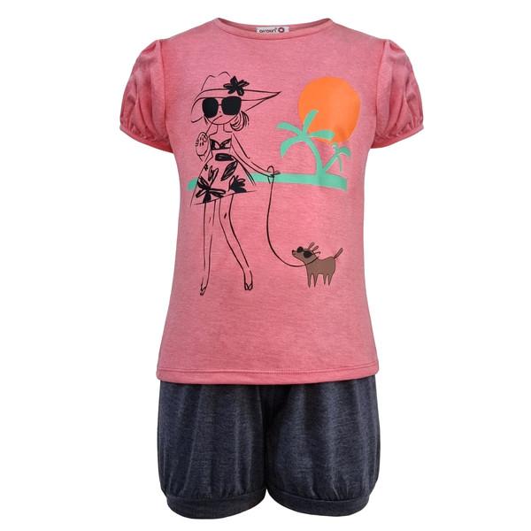 ست تی شرت و شلوارک دخترانه افراتین مدل دختر ساحلی رنگ صورتی
