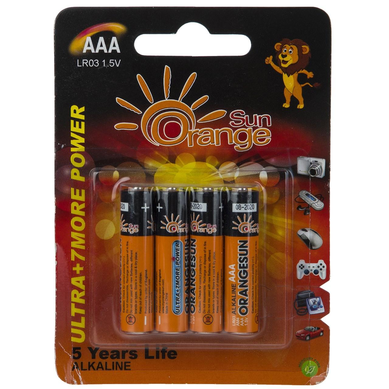 باتری نیم قلمی اورنج سان مدل Ultra Alkaline بسته 4 عددی