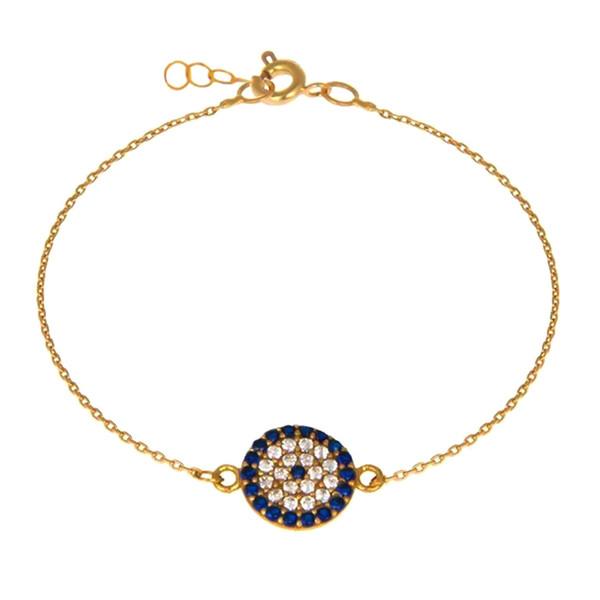 دستبند طلا 18 عیار زنانه کاپانی مدل چشم نظر کد KB011