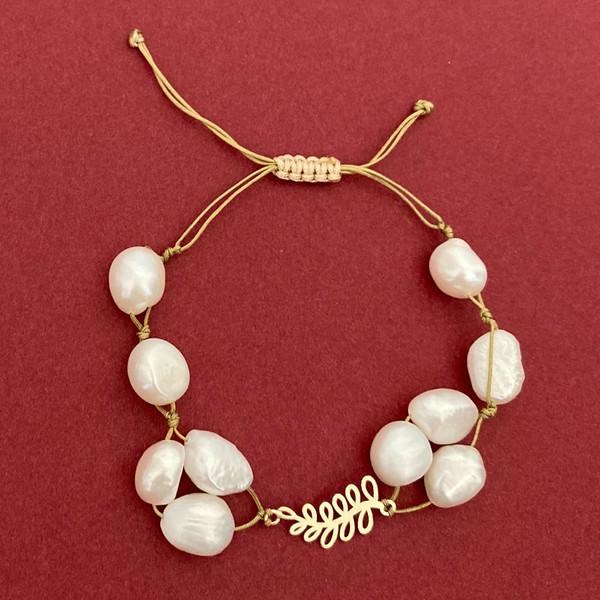 دستبند طلا زنانه الماسین آذر طرح برگ مدل BAR03