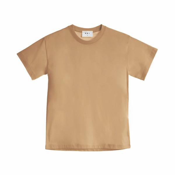 تی شرت آستین کوتاه زنانه کوی مدل هی گرل رنگ کاراملی